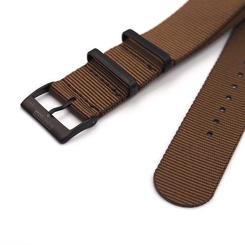 MOON ARMY STRAP - NATO BROWN (BLACK BUCKLE)