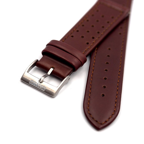 MOON RACE STRAP - POLISHED BROWN LEATHER (SILVER BUCKLE)