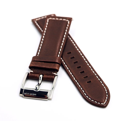 ELEGANT PILOT STRAP - BROWN LEATHER (SILVER BUCKLE) | WHITE STITCHING