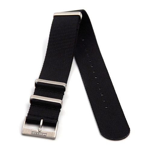 MOON ARMY STRAP - NATO BLACK (SILVER BUCKLE)