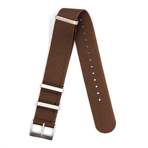 MOON ARMY STRAP - NATO BROWN (SILVER BUCKLE)