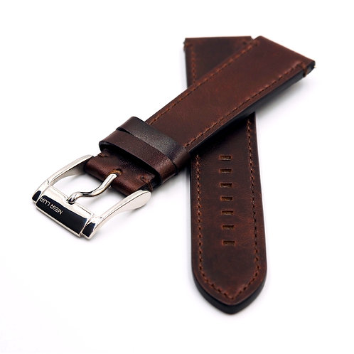 MOON PILOT STRAP - BROWN LEATHER (SILVER BUCKLE) | Brown Stitching