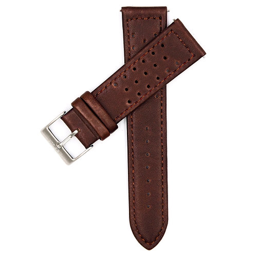 MOON RACE STRAP - BROWN LEATHER (SILVER BUCKLE)