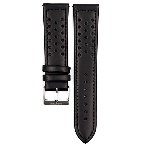 MOON RACE STRAP - BLACK LEATHER (BLACK BUCKLE)