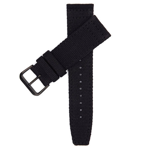 CANVAS MILITARY STRAP - BLACK (BLACK BUCKLE)