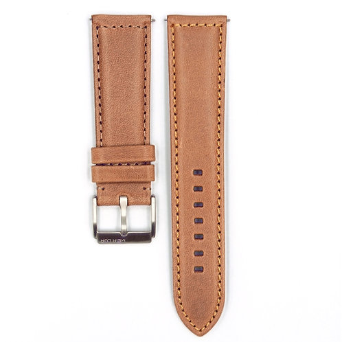 Elegant Pilot Strap - Natural Camel Leather (Silver Buckle) | Gold Stitching