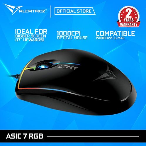 Alcatroz Asic 7 RGB FX High Performance USB Mouse 1000cpi - Hitam