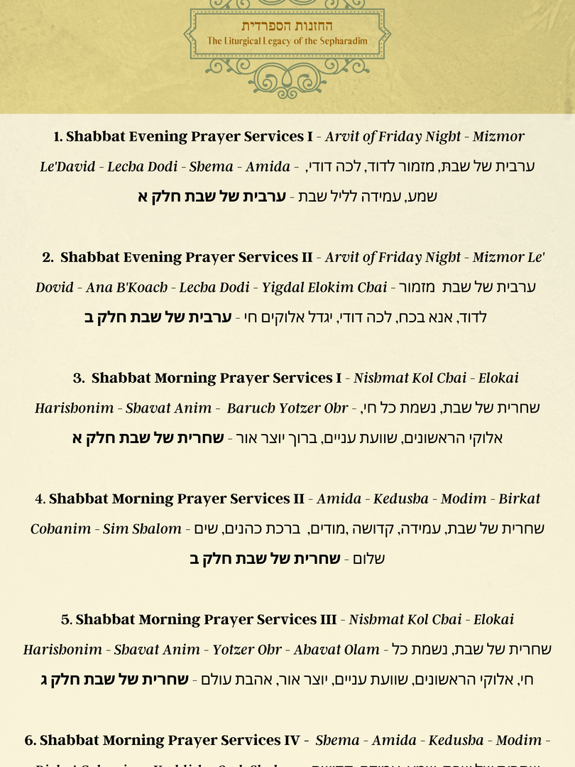 Track Menu Shabbat Prayers 1