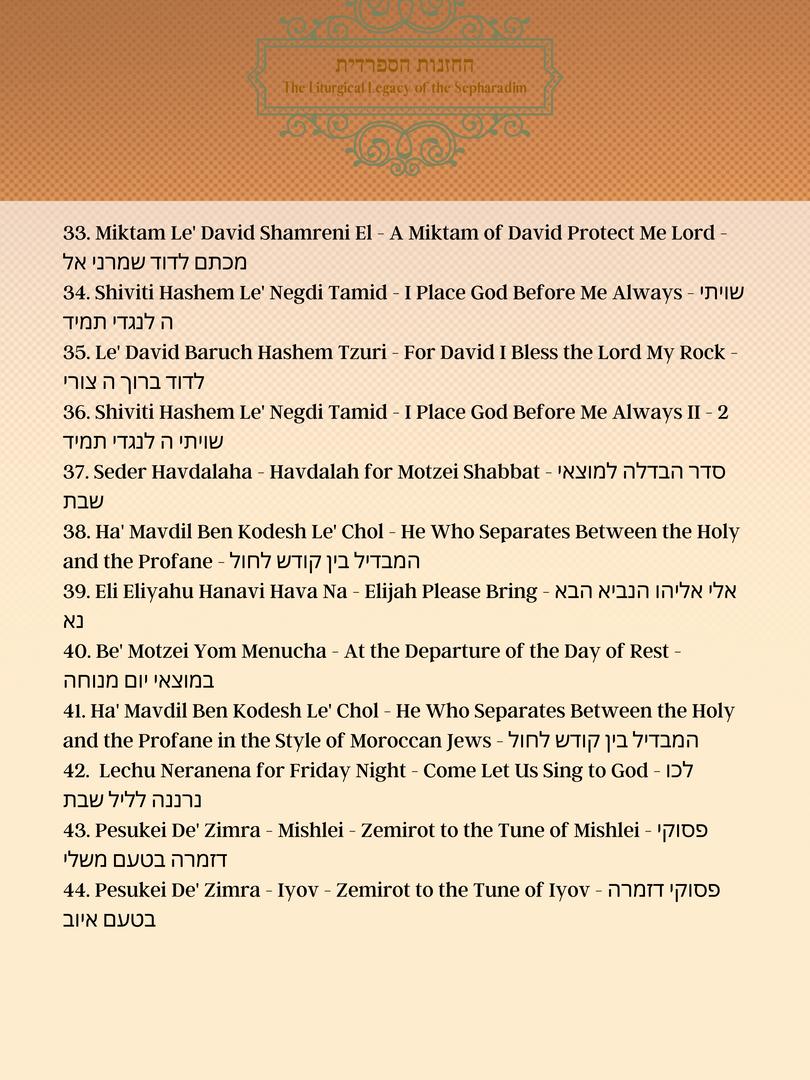 3.Track list Piyyutim of Shabbat