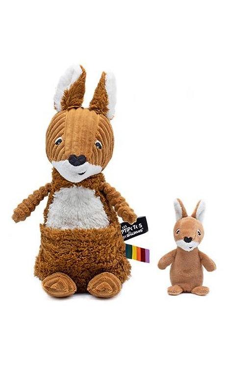 Peluche Allezou le kangourou cassonade Les Déglingos