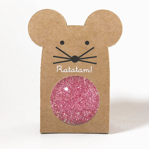Balle souris rebondissante rose Ratatam