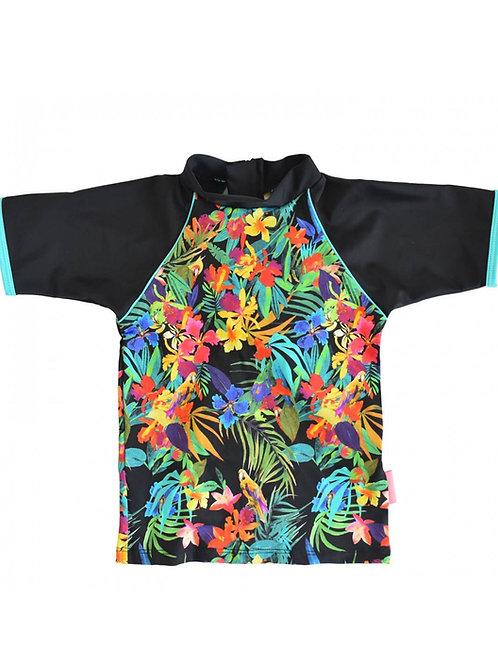 Tee-shirt bébé anti uv Tropiques coloré et fleuris Mayoparasol