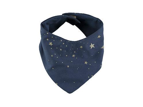 Bavoir bandana Lucky bib Gold stella night blue Nobodinoz