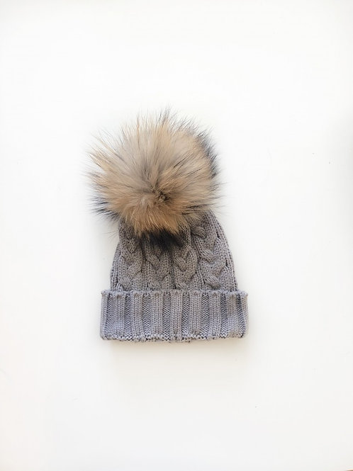 Bonnet enfant pompon simple Gris Buzz and blabla