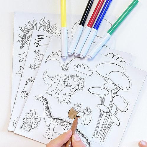 Magnets à colorier dinosaures Ferflex