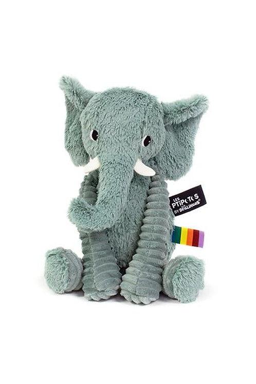 Peluche Ptipotos l'éléphant vert Les Déglingos