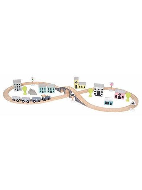 Coffret circuit train en bois Jabadabado