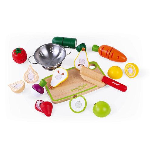 Maxi set fruits et légumes bois Janod