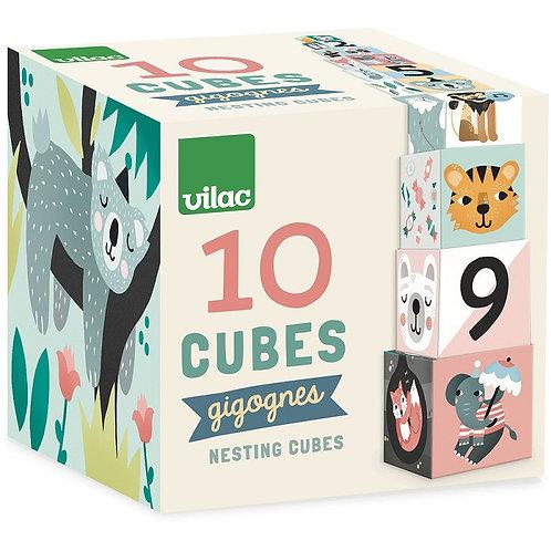 10 cubes gigognes animaux Vilac