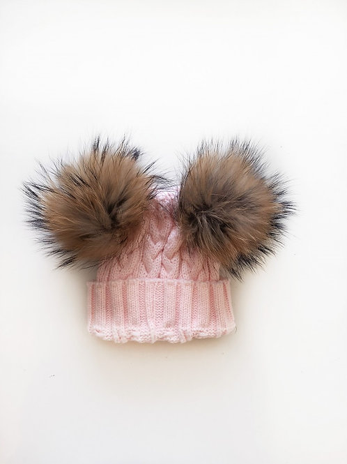 Bonnet enfant pompon double Rose Buzz and blabla