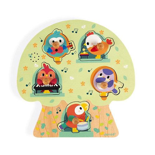 Puzzle Musical Les Oiseaux en Fête 5 pcs (bois) Janod