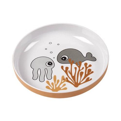 Délicieuse mini assiette Sea friends Moutarde / Gris Done by deer