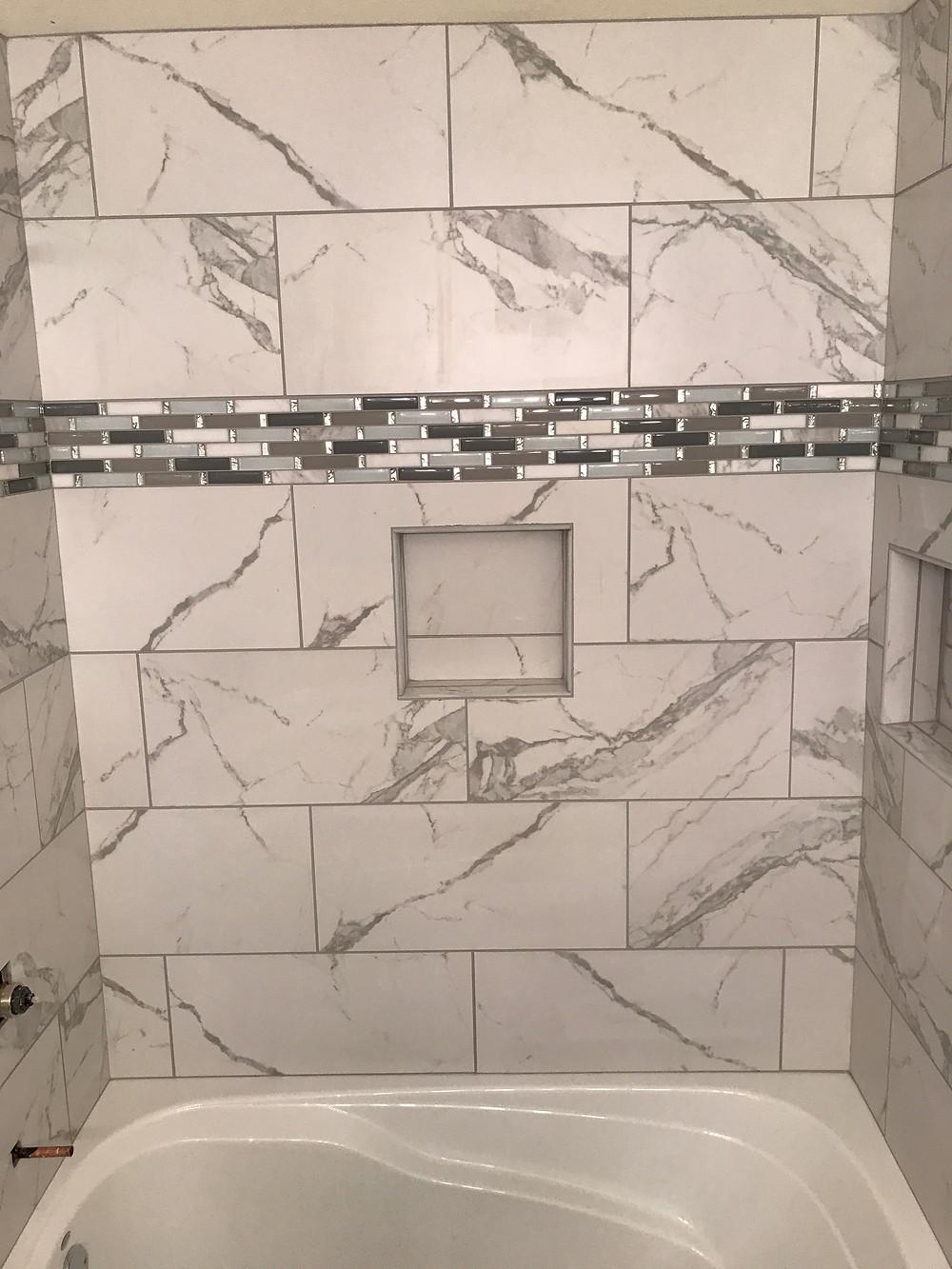 Porcelain tile bathtub
