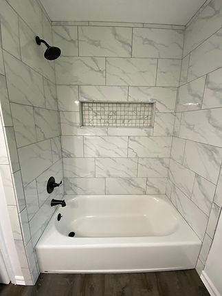 Bathtub Tile, Resessed Shampoo Shelf