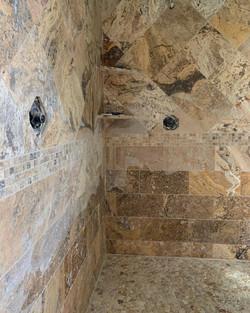 Marble shower, travertine