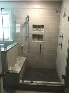Walk in shower with double shelf