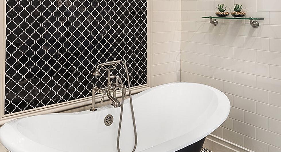 bathtub tile installation, bathtubs, b&w designer tile