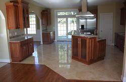 Marble floor tile installed