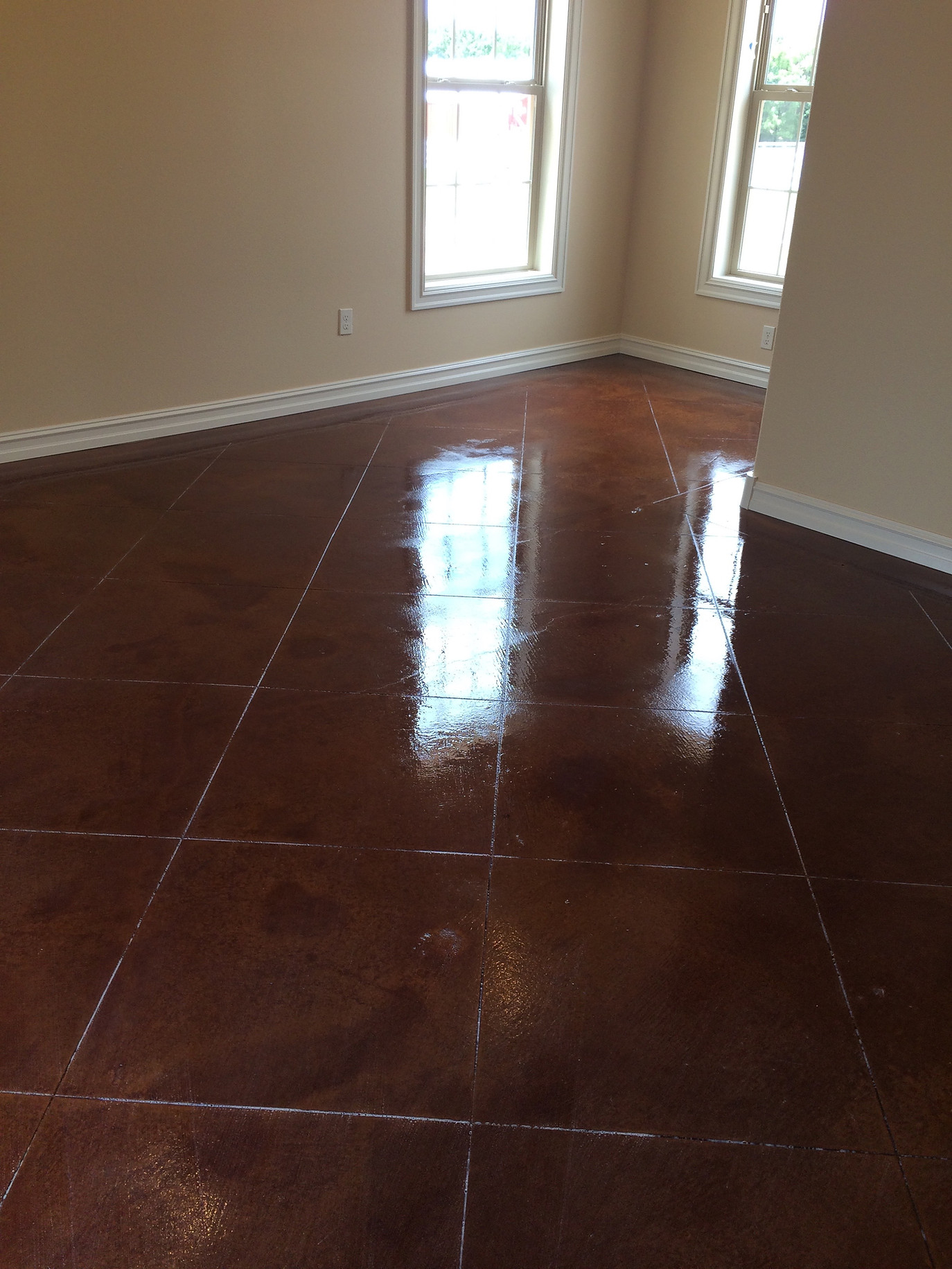 Scored stained concrete