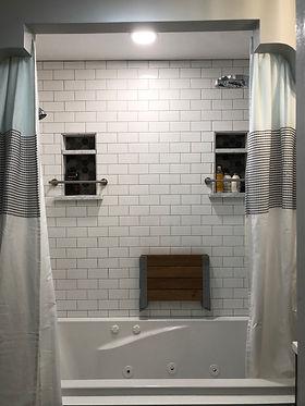Tile Bathtub with Shampoo Shelves