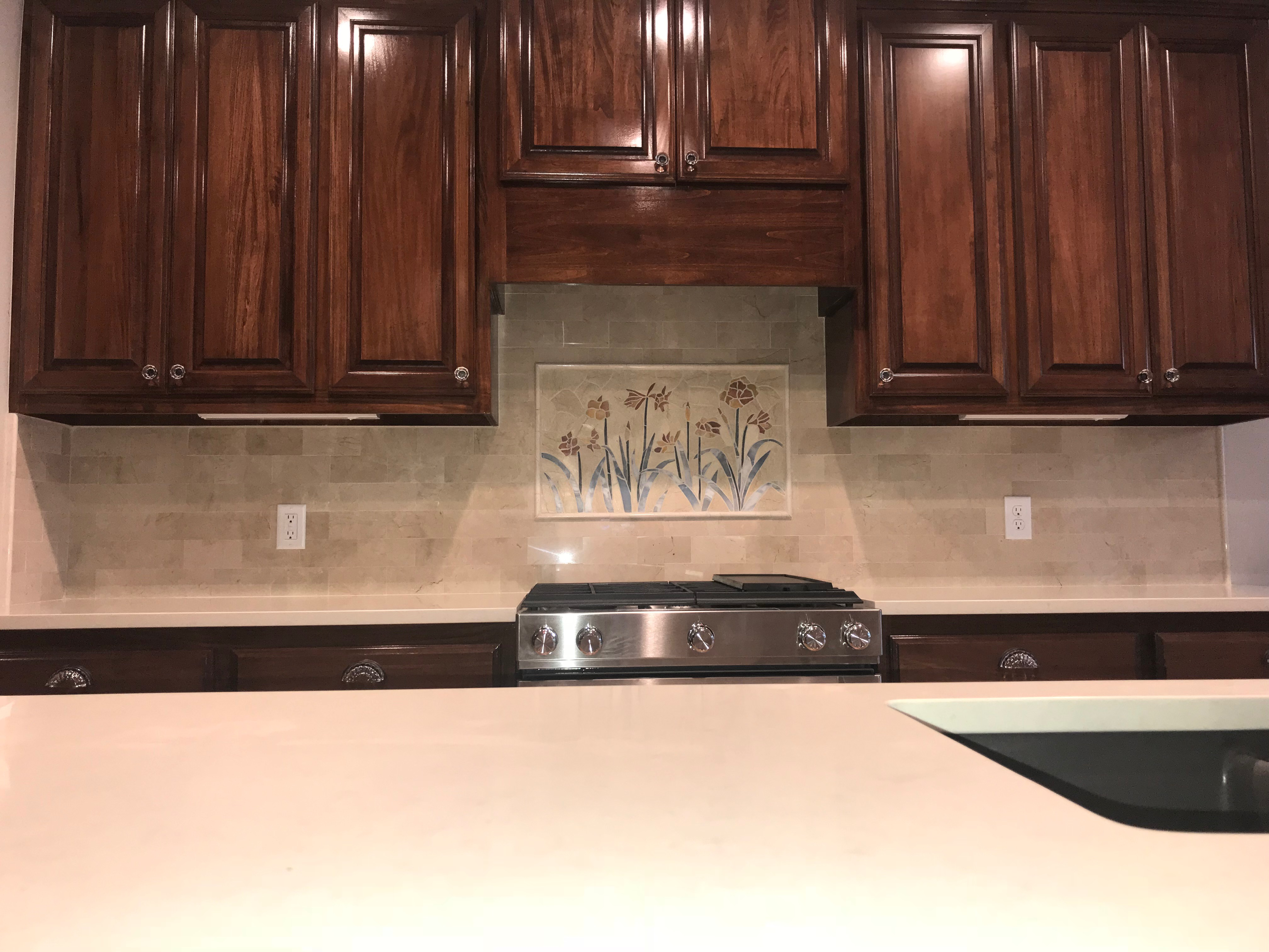 Marble splash with mural