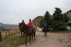 Horseback riding at Cathedral Cabin