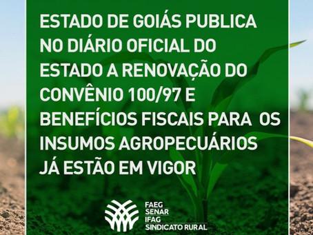 Estado de Goiás publica no Diário Oficial do Estado a renovação do Convênio 100/97 e benefícios fisc