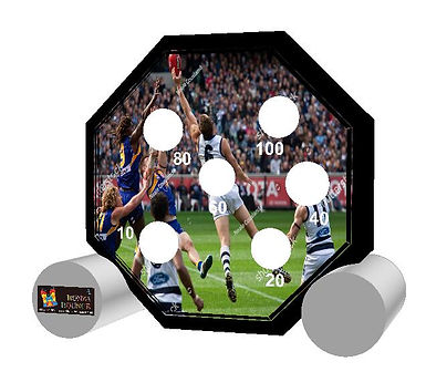 AFL football eagles geelong aim game inflatable dart game bouncy castle hire perth a bonza bounce