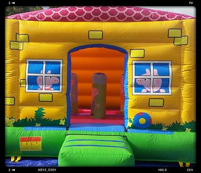 peppa pig bouncy castle hire perth, a bonza bounce, perth bouncy castle hire, george pig, daddy pig, mummy pig, peppa pig