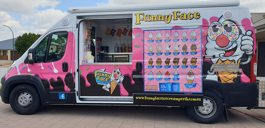 the funny face ice cream van all finished