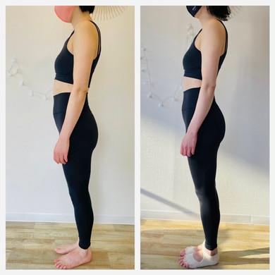 反り腰の改善。トレーニングに+して普段の生活の中でも意識することをしました。腰痛が改善され、ウエストがゆるくなりました。