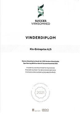 """Prisen gives som en anerkendelse til virksomheder, der kontinuerligt lykkes med at skabe vækst og solide finansielle resultater. Prisen indstilles til 200 virksomheder i hver af Danmarks fem regioner. KTS-Entreprise A/S er blevet tildelt erhvervsprisen """"Succesvirksomhed 2019"""" indstiftet af Spar Nord og BDO."""