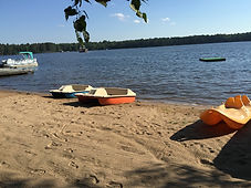 Sandy Beach with Paddleboats