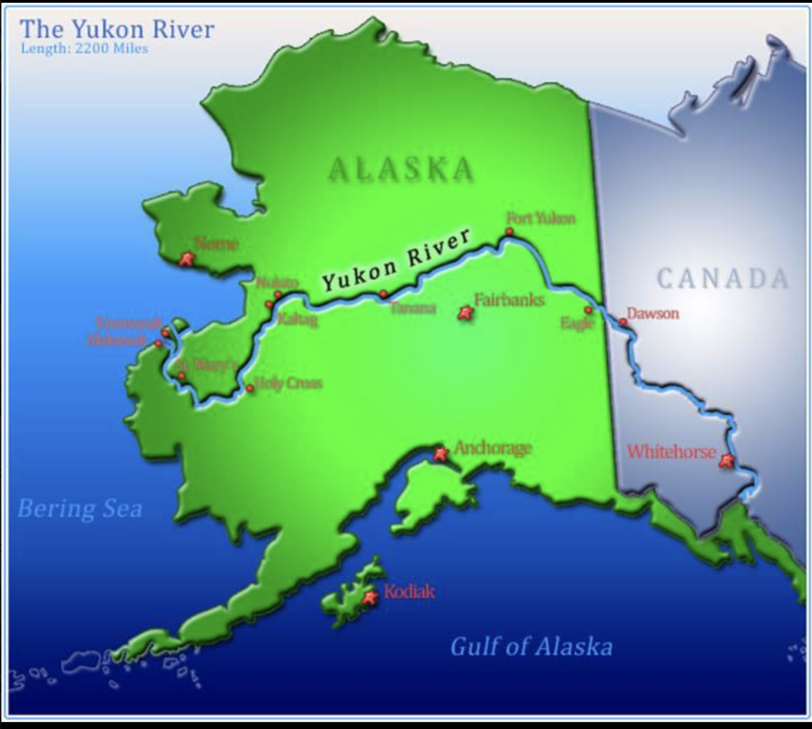 Image result for long is the yukon river