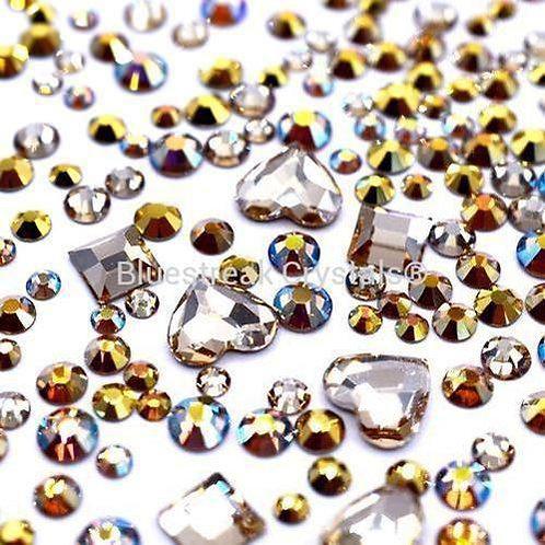 Preciosa Golden Glamour Mix of Flatback Crystals Non Hotfix