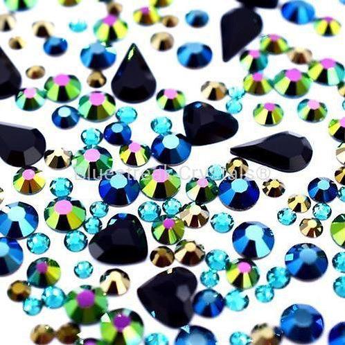 Preciosa Peacock Mix of Flatback Crystals Non Hotfix