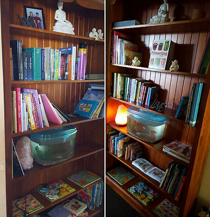 organised shelves before and after