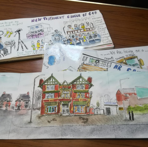 The Cheetham Sketcher, Mary's sketchings of Cheetham on display @ Trinity Unied (CCF 2019)