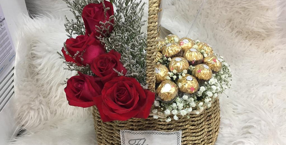 Red roses with ferero gold basket