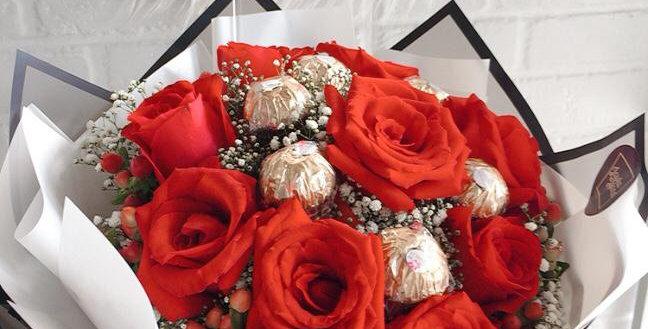 Lovely red roses & ferero